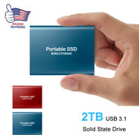 USB 3.0 External SSD Solid State Drives 2TB Portable Mobile Hard Drive For PC
