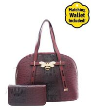 Faux Ostrich Embellished Rhinestone Lady Bug W/Strap Handbag Wallet Set - Wine