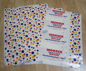 Lot of 5 Old Vintage 1948 - WONDER Bread WRAPPERS - Continental Baking Co.