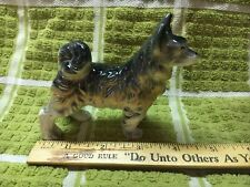 Dog Figurine Long Hair Curly Tail Glass Ceramic Excellent Condition
