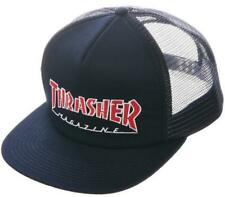 Thrasher Men's Embroidered Outlined Mesh Snapback Hat Navy Blue Clothing Appa