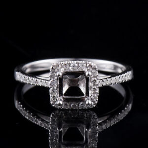 Solid 14K White Gold Natural Diamond Semi Mount Engagement Ring Princess Cut 5mm