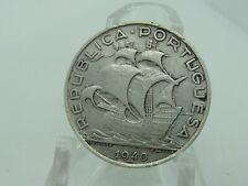 1940 Portugal 10 Escudos Silver Coin