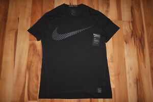 NWT NIKE PRO SWOOSH DRY FITTED TRAINING TOP TEE T-SHIRT BLACK 838002 010 SZ L