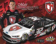 "SIGNED 2017 MATT DIBENEDETTO ""COSMO MOTORS"" #32 NASCAR MONSTER ENERGY POSTCARD"
