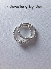 Sterling Silver Stacking Rings, Beaded, Stretch, 1 Plain, 1 With Large Bead