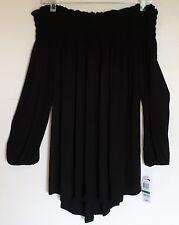 Style & Co NEW Black Smocked Blouse Off Shoulder Boho Peasant Top Large L