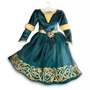 Disney Store Merida Girls Costume Dress Gown Glitter Gold Green Brave Princess