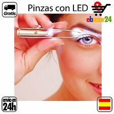 pinzas con luz led depilar cejas pelo acero inoxidable *Envío GRATIS desde Españ