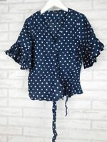 Portmans Wrap top Sz 8 Blue, white polka dot print Slips on Ties up 100% linen