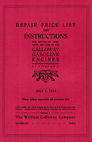 Galloway Gas Engine Motor Manual Book Hit Miss Waterloo IA Parts List Stationary