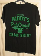 "Men's 17.5"" Small Official Paddy's Pub Crawl Team T Shirt Black Cotton"
