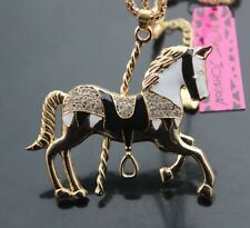 Betsey Johnson CAROUSEL HORSE Crystal Enamel Black White Gold