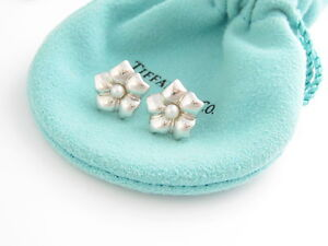 Tiffany & Co Sterling Silver Flower Pearl Earrings!