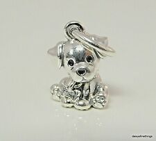 Authentic PANDORA Charm Labrador Puppy Dog 798009EN16 & Suede Pouch