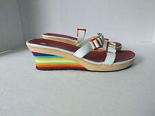 Tommy Hilfiger Girls Womens US 5 Med Leather Multi Color Wedge Slip On Sandals