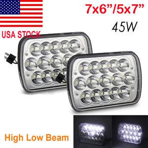 Pair 7x6 LED Headlight H6054 Sealed Beam Headlamp for Jeep Cherokee XJ YJ Toyota