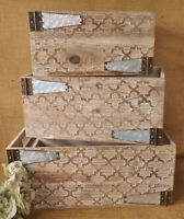 Natural & Grey Vintage Hinge Patterned Wooden Display Storage Box Crate 3 Sizes