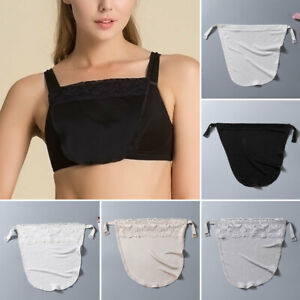 Women Cleavage Cover Up Lace Clip-On Mulberry Silk Solid Bra Insert Camisole New