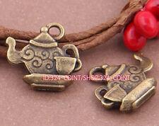 P705 15pc Antique Bronze teapot Pendant Bead Charms Accessories wholesale