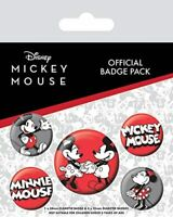 OFFICIAL LICENSED - MICKEY MOUSE - BADGE PACK OF 5 - DISNEY
