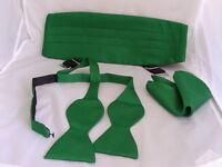FOREST Green Self-tie Bow Tie + Cummerbund and Hankie Set Free P&P 2UK 1st Class