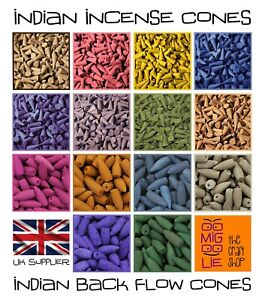 50 Indian Incense Cones or 25 Indian Back Flow Cones *Choose your Fragrance* UK