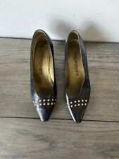 Vintage Yves Saint Laurent Shoes Black Leather Kitten Pump Heel Size 35 Uk 2