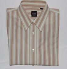 HUGO BOSS Men's Slim Fit White Red Green Striped L/S Button Down Shirt Size XL