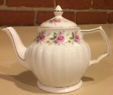 Pink Roses and Lavender Floral Ribbed Tea Pot