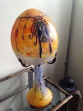 "LeGras Lamp, Glass Shade and Base, Enameled Pr of Love Birds, Signed, 15 1/2"" h"