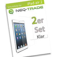 2x iPad Air 1 / 2 Klar Display Schutz Folie LCD Klarsicht Screen Protector Clear