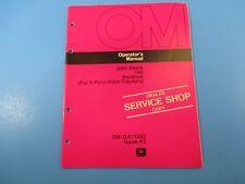 John Deere Operators Manual Om-Ga11033 165 Backhoe 3 Point Hitch Issue K5 M5214