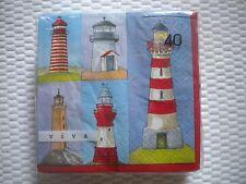 "40 Viva Brand Paper Luncheon Napkins Lighthouses Theme Germany 13""x13"" Unfold"
