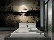 Night Dark Forest Trees Lake Moon Wall Mural Photo Wallpaper GIANT WALL DECOR