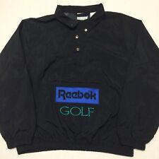 Mens Vintage Reebok Golf Box Logo Spell Out Pullover Button Windbreaker Jacket