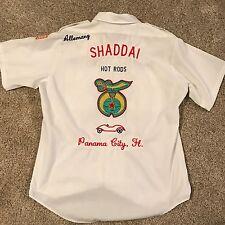Rare 1970s Shaddai Hot Rods Panama City Mechanics Shirt Size L Embroidered USA