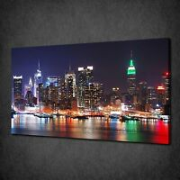 COLOURFUL LIGHTS NEW YORK CITY AT NIGHT BOX CANVAS PRINT WALL ART PICTURE