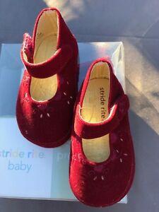 Stride Rite Burgundy Velvet Cradle Shoes New In Box Infants Girls Size 2