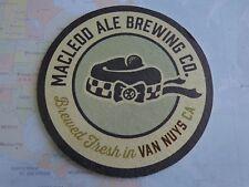 Beer Bar Coaster ~ MacLeod Ale Brewing Co ~ Brewed Fresh in Van Nuys, CALIFORNIA
