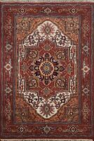 Geometric Traditional Oriental Area Rug Medallion Hand-Knotted Wool Carpet 4'x6'
