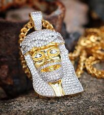 Mens Gold Jesus Piece And Franco Chain Necklace 18k Gold And Rhodium Plated