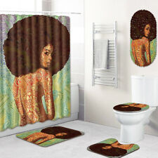 African Woman Bathroom Rugs Shower Curtain Bath Mat Shower Mat Toilet Lid Cover