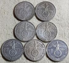 UNIQUE 7 x Full Mint Set 2 ReichsMark 1938 Nazi Silver Coin Lot 3