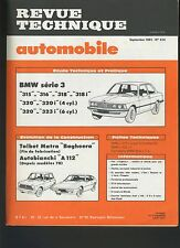 (33B) REVUE TECHNIQUE AUTOMOBILE BMW série 3 / MATRA BAGHEERA / AUTOBIANCHI A112
