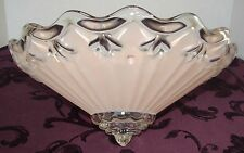 MID CENTURY 3-HOLE HANGING CEILING LIGHT SHADE PINK BEVELED SATIN GLASS & CLEAR