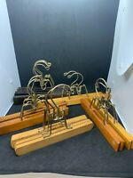 LOT OF 12 VINTAGE/NEWER WOODEN PANTS HANGERS ALL WORK GREAT