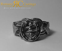 Solid Sterling STAMPED 925 Silver Highly Polished Knot & Horse shoe Ring 11 gram