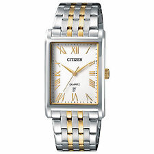 Mens Citizen Quartz Rectangle Gold Silver Stainless Roman Dial Watch BH3004-59A