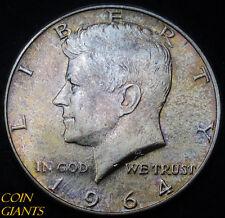 1964-P Kennedy Silver Half Dollar Philadelphia Gorgeous Rainbow Toning Toned UNC